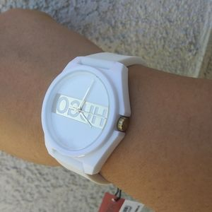 New Hugo Boss #Play White Silicone Gold Face